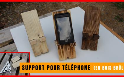 support pour téléphone en bois